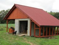 Zastřešení garáže + dřevník, Chválkovice